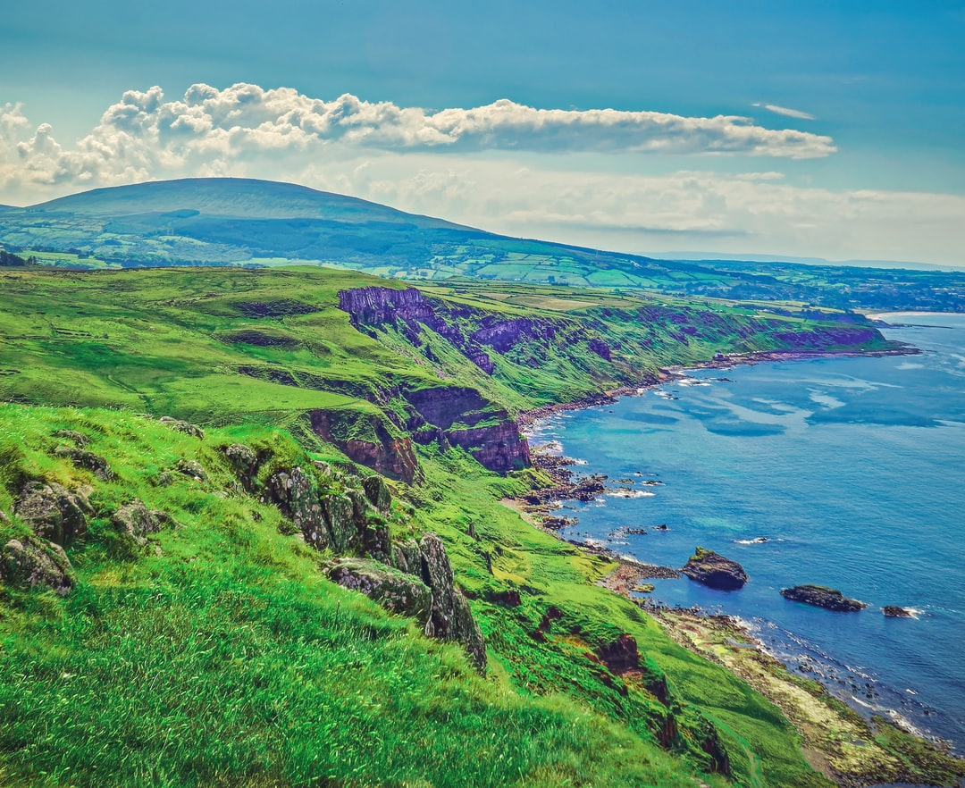 Looking out over The North Coast and the Glens of Antrim toward Ballycastle from Fair Head (Jun., 2020).