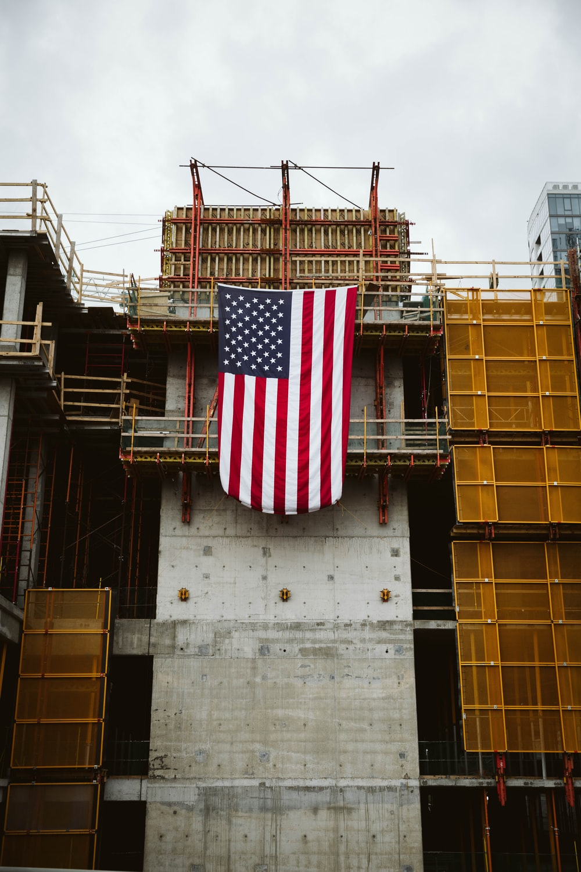us a flag on building