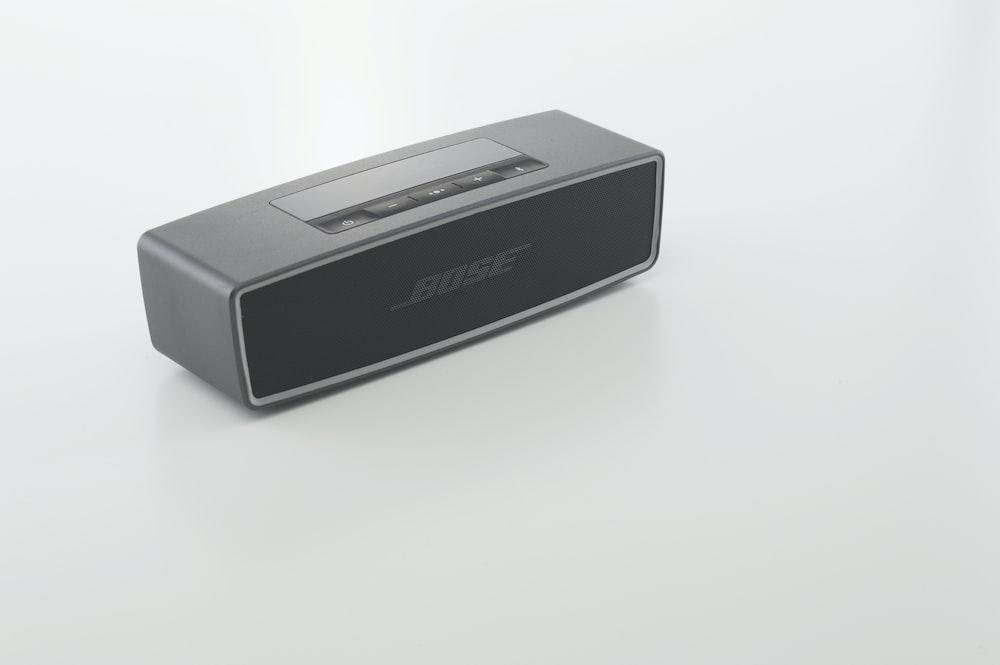 black and gray bose portable speaker