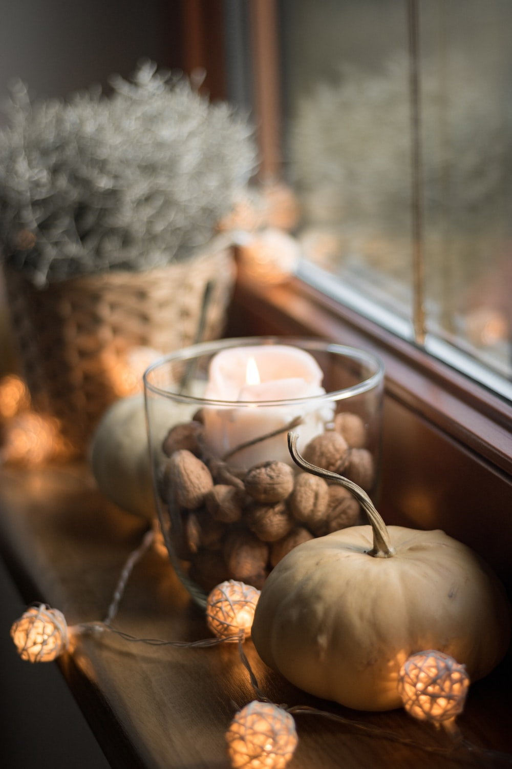 brown pine cone beside clear glass cup