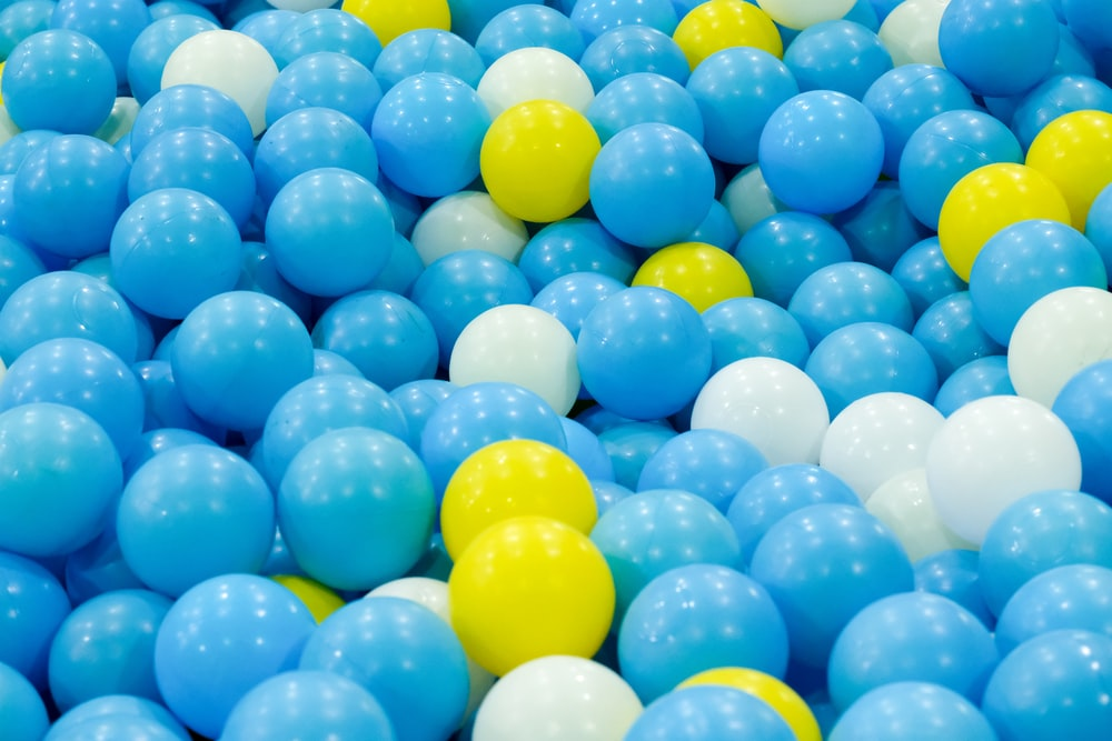 blue yellow and green balloons