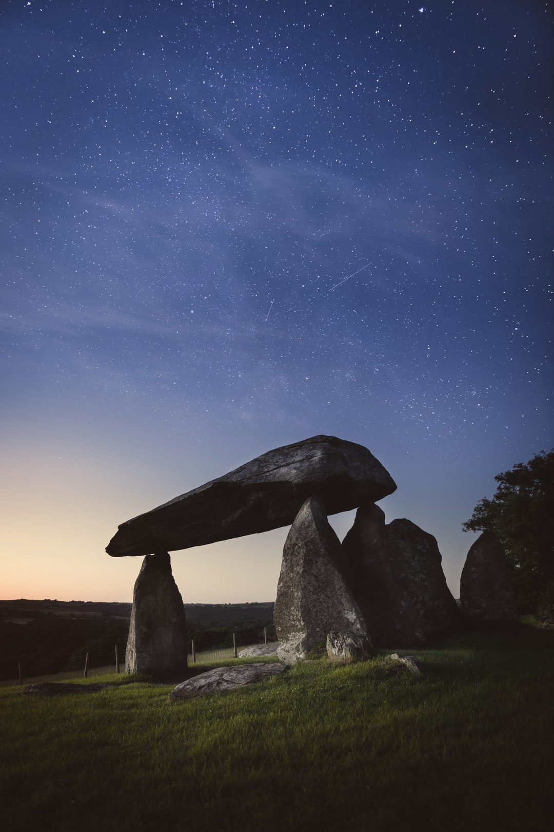 Pentre Ifan burial chamber in Pembrokeshire under the starry night sky