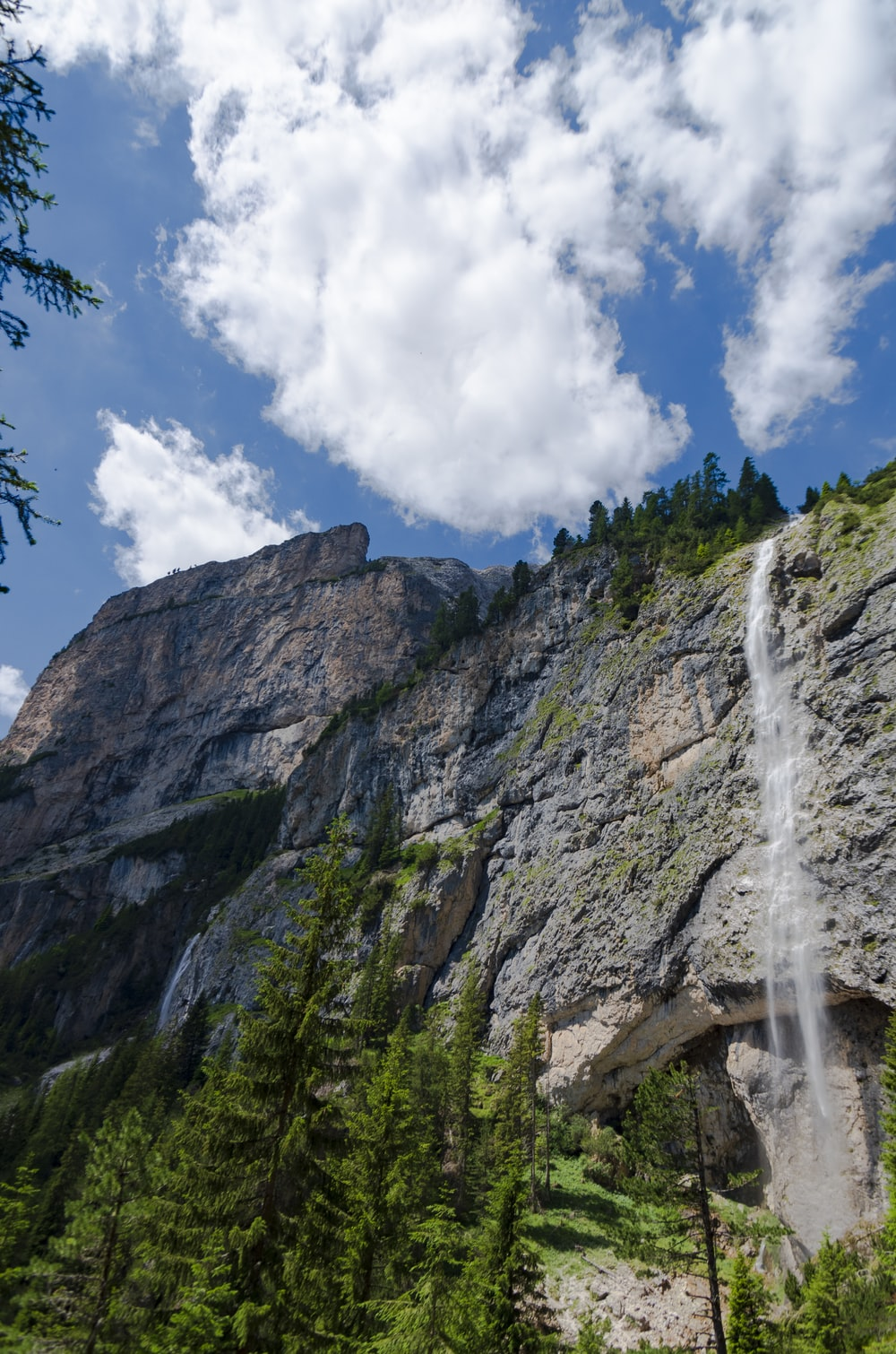 waterfalls on rocky mountain under blue and white cloudy sky during daytime