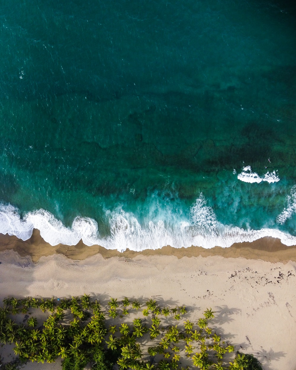 aerial view of ocean waves on shore during daytime