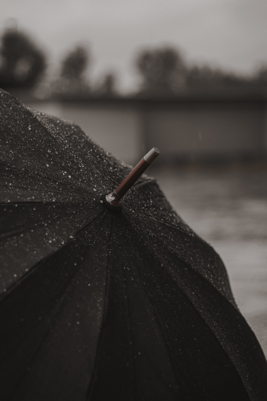 black umbrella with red handle