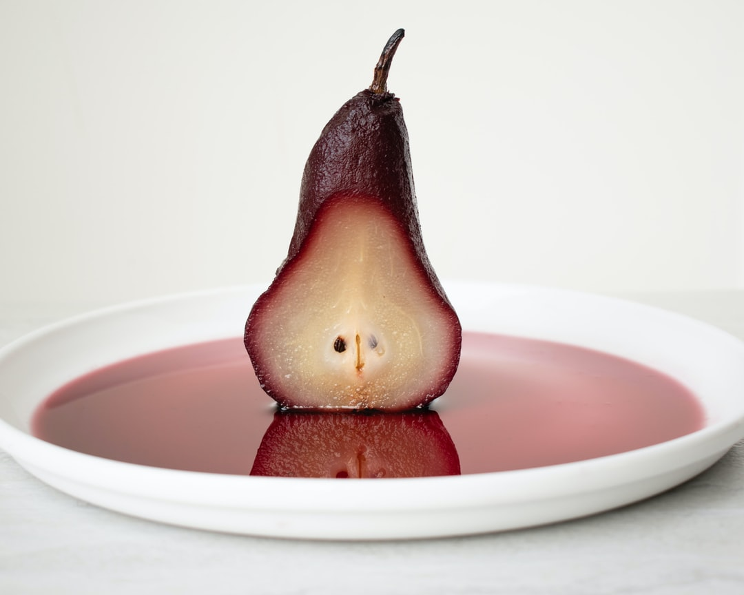 poached pear in wine