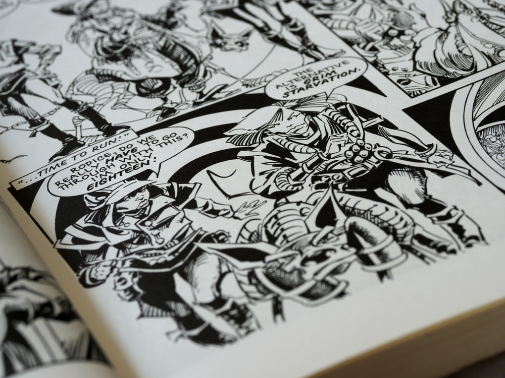 white and black comic book