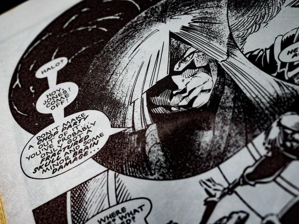 black and white man illustration