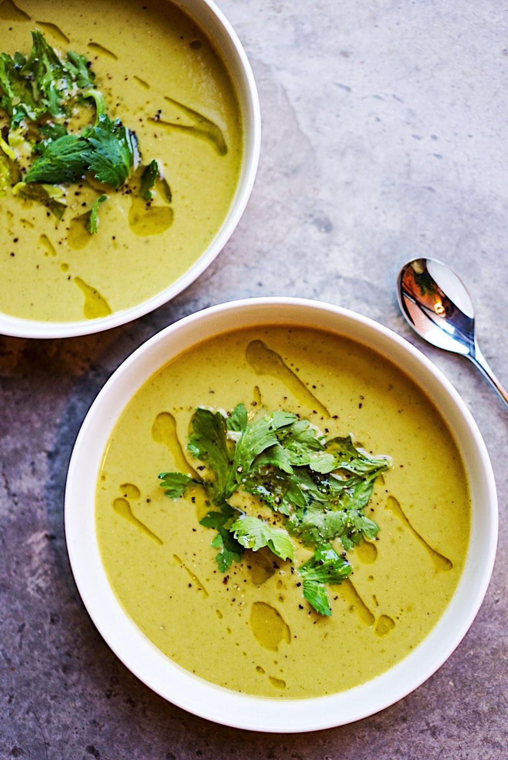 green soup on white ceramic bowl