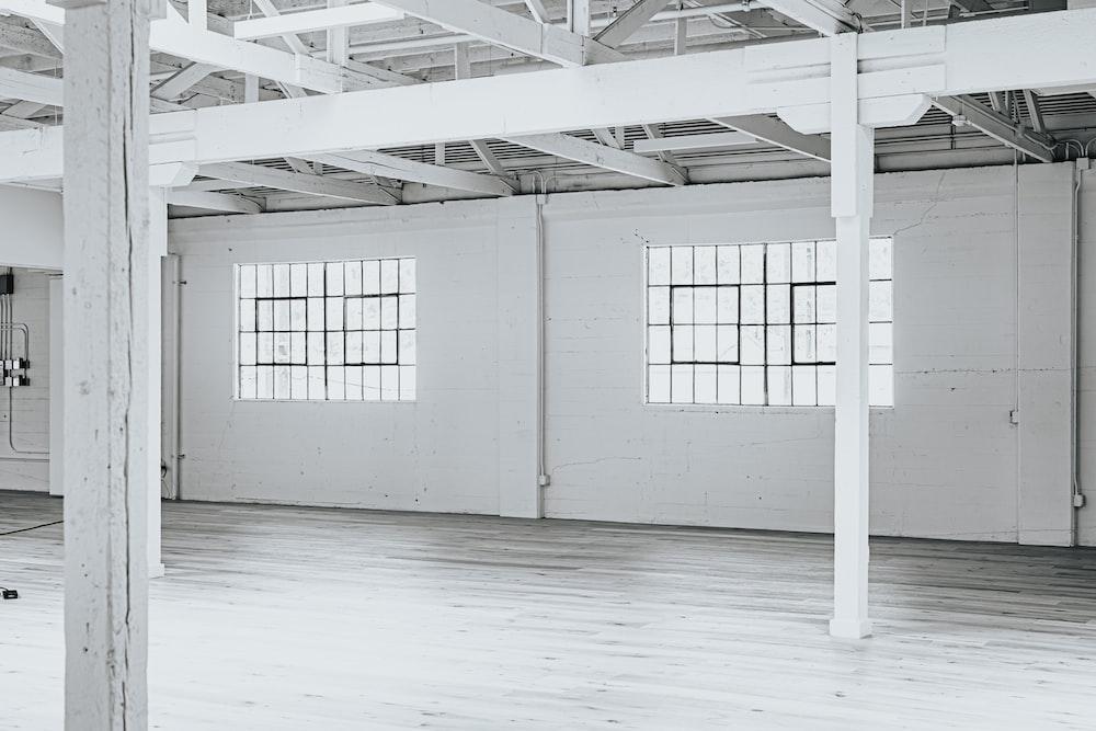 white metal frame on white floor