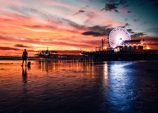 people walking on dock near ferris wheel during sunset