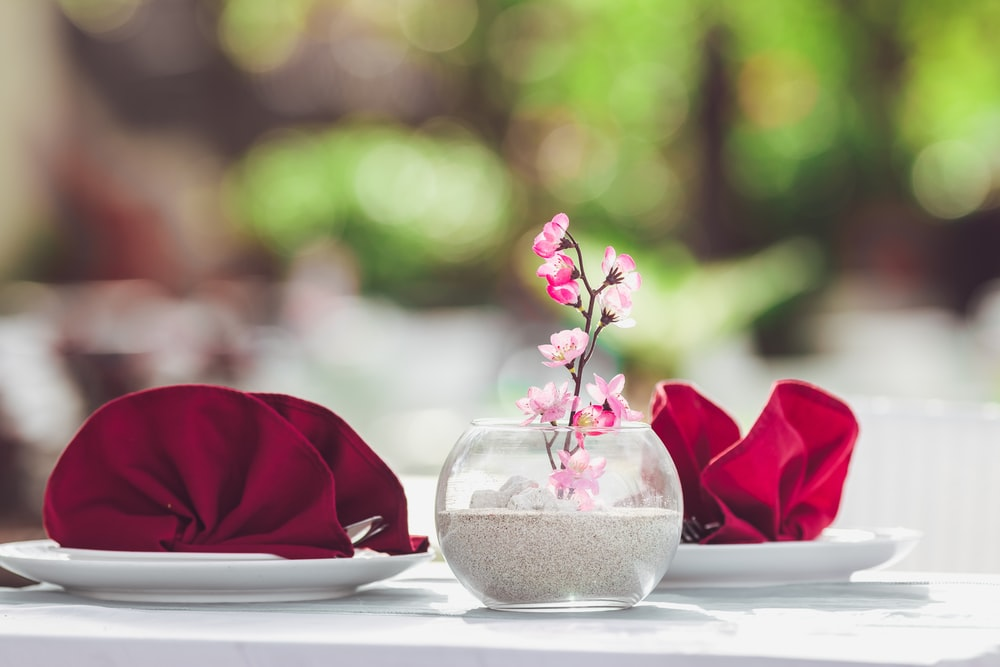 pink roses in clear glass vase on white table