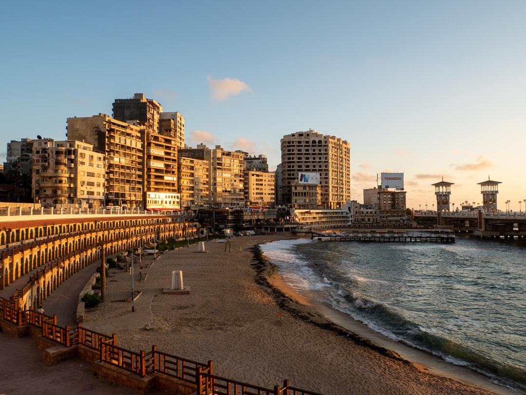 the golden hour before sunset at stanley bridge and stanley beach in Alexandria, Egypt