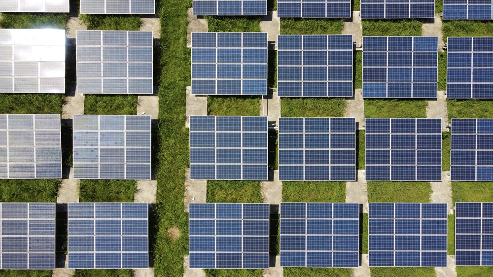 white and blue solar panels