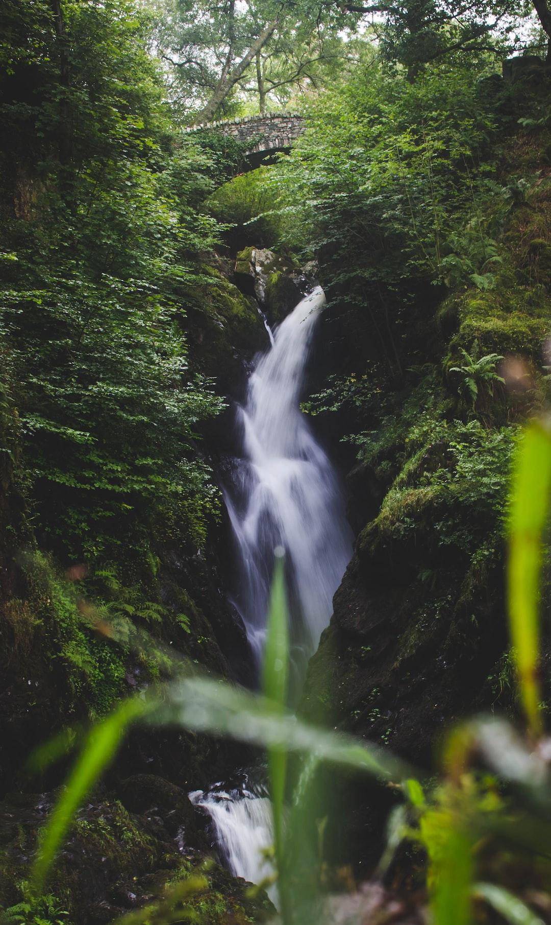 Waterfall drops below old stone bridge in forest