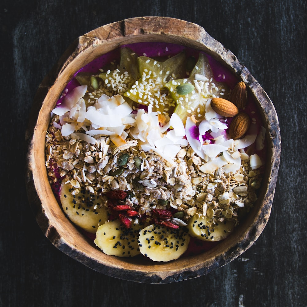 brown and white round bowl with food