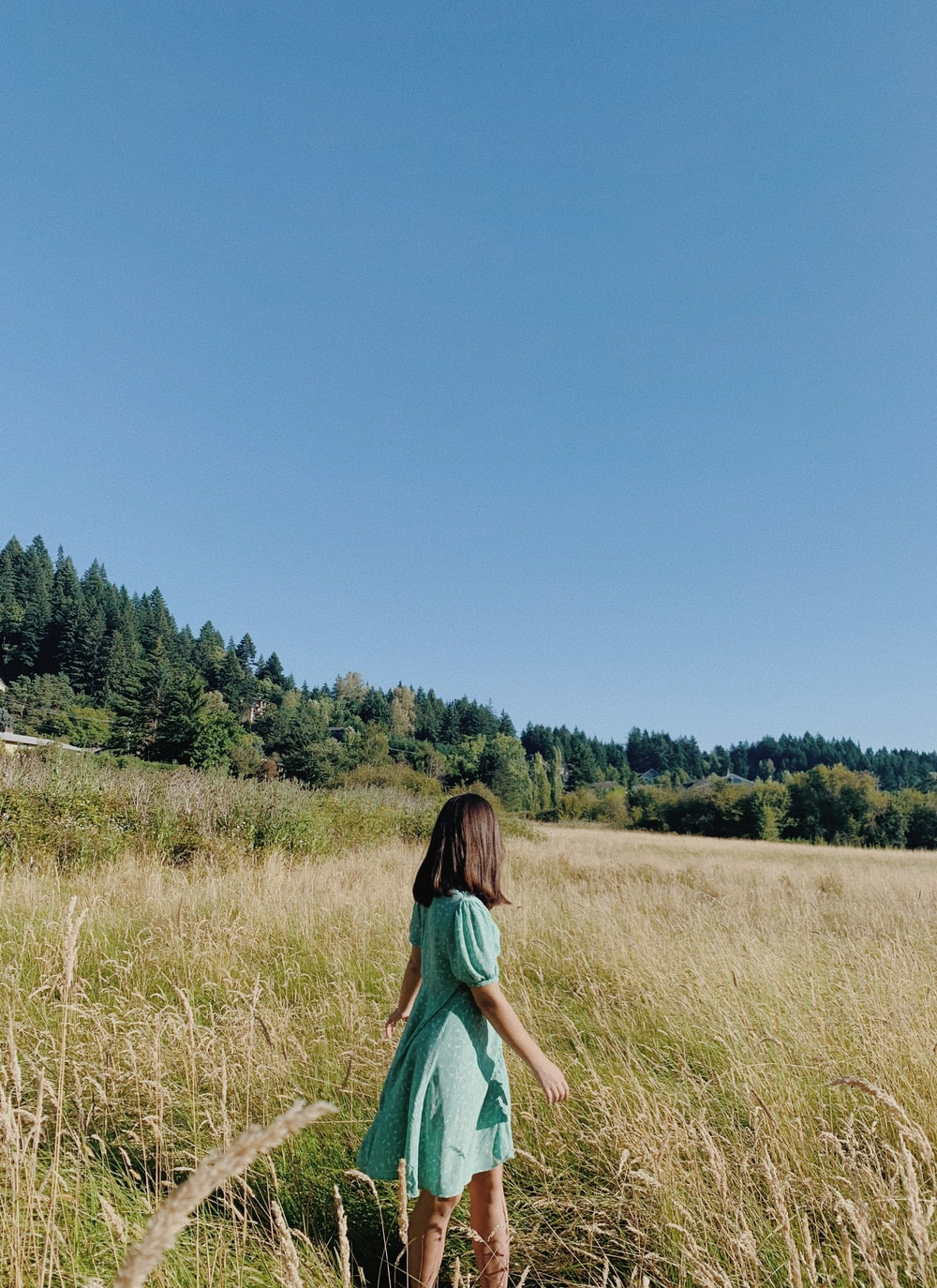 woman in green dress walking on brown grass field during daytime