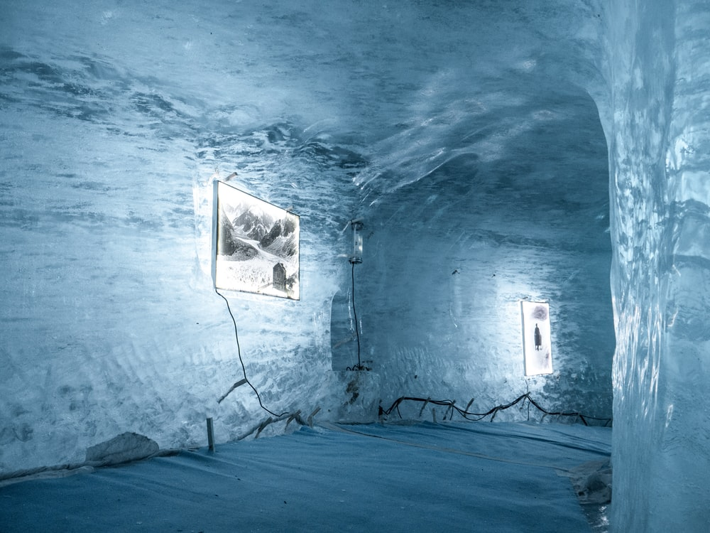 blue and white wall with light