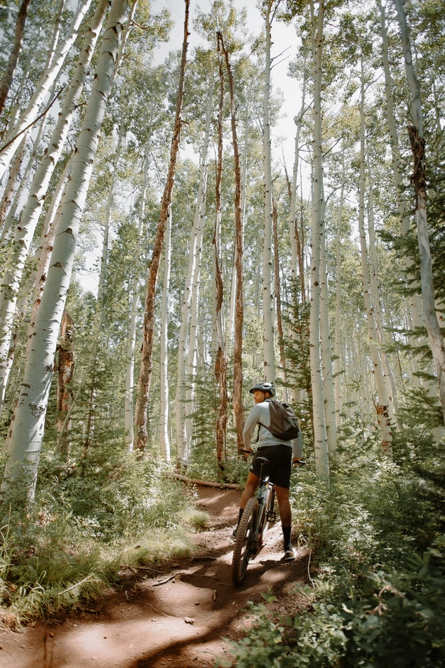 a man riding a pike through the woods in Park City, Utah