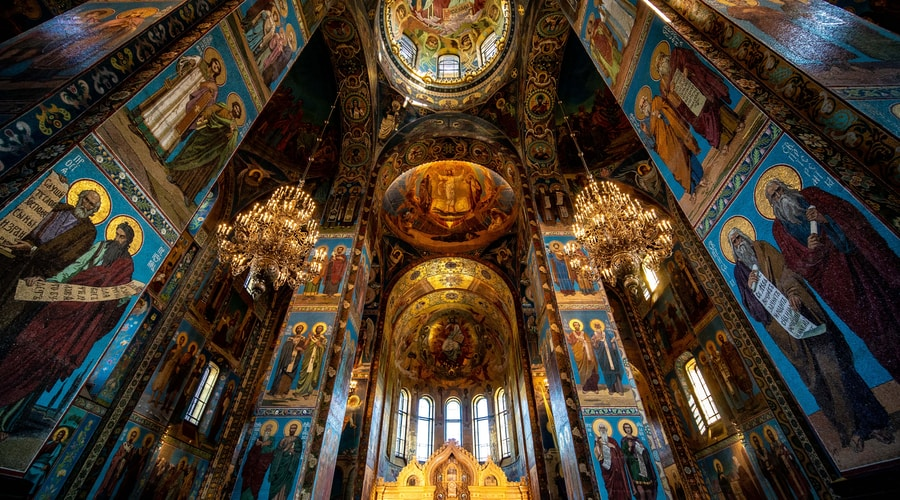 blue and gold cathedral with glass windows