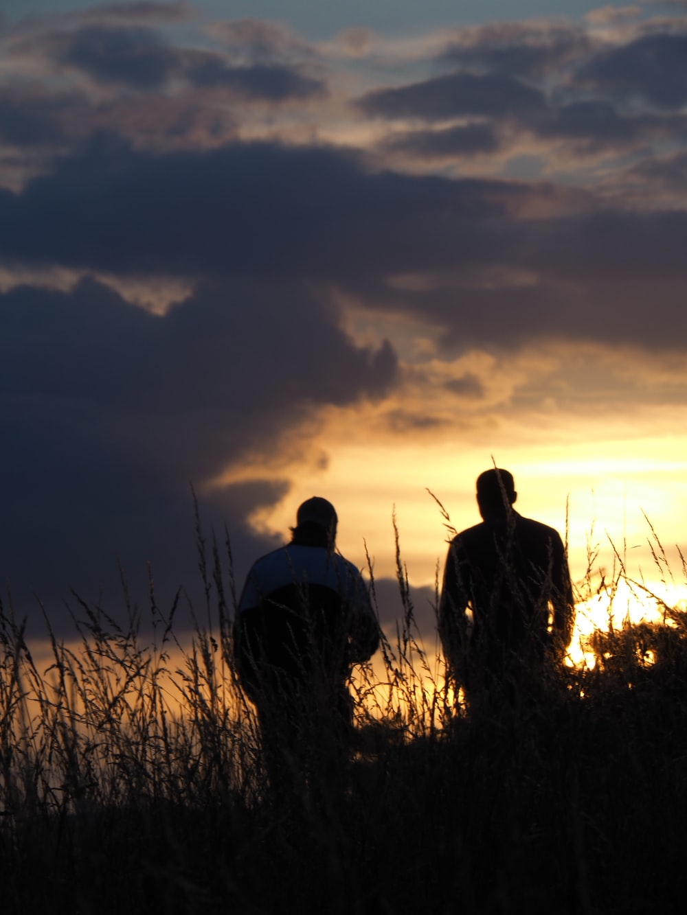 silhouette of 2 men standing on grass field during sunset