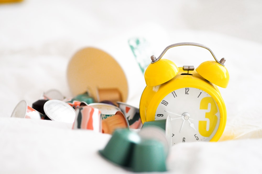 yellow alarm clock at 10 00