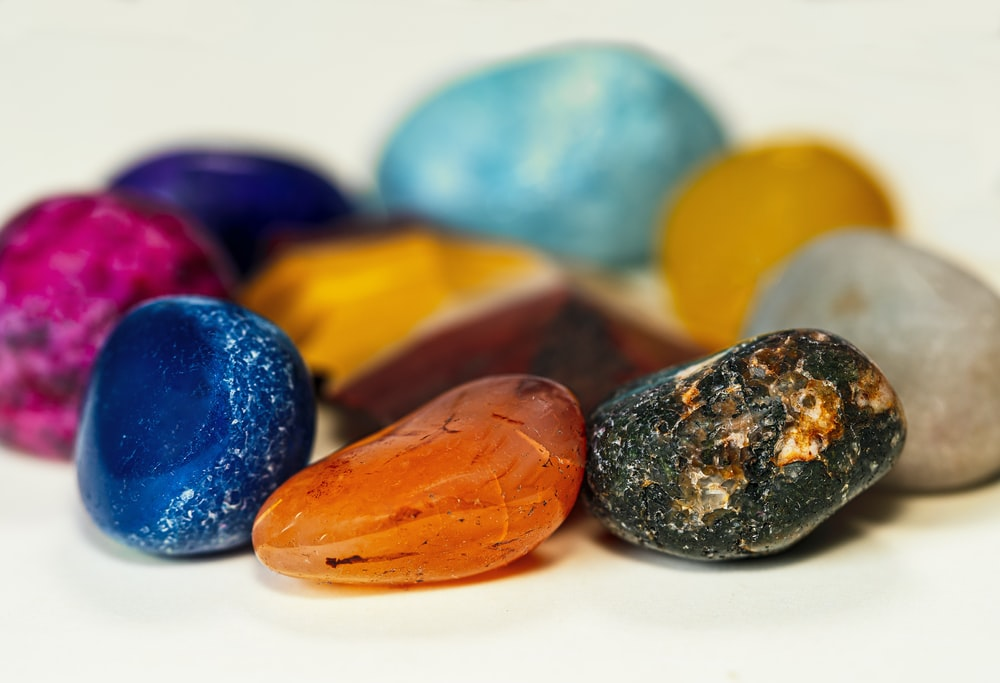 blue yellow and red oval candies