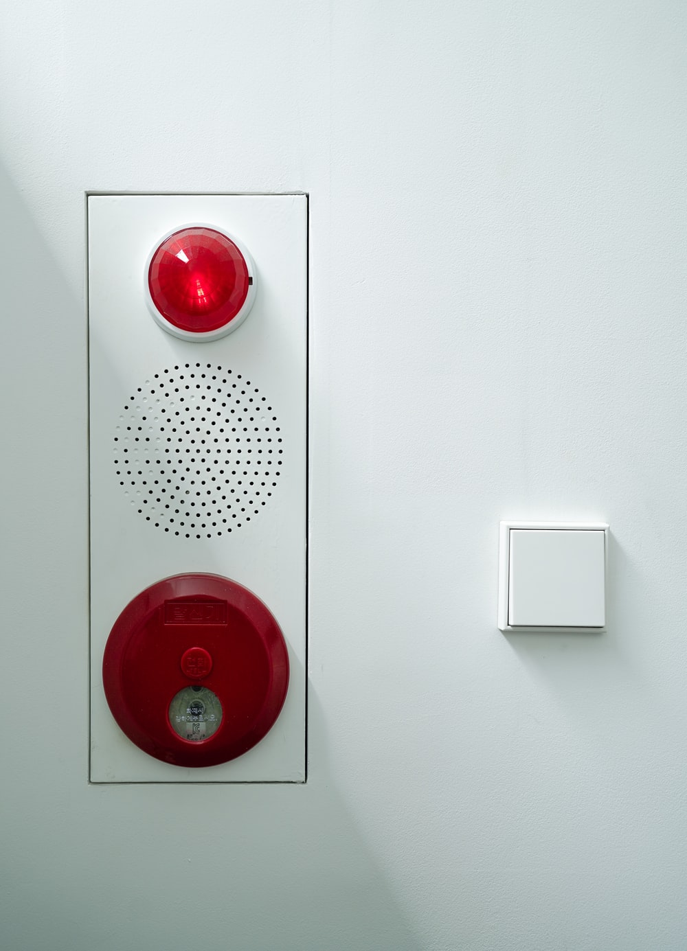 white and red light switch