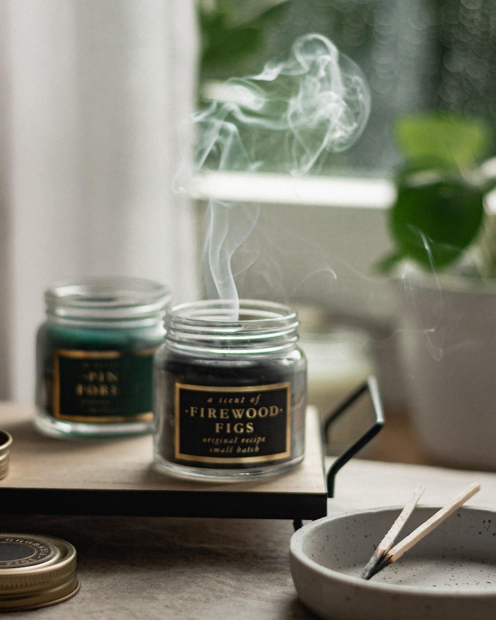 black and brown glass jar