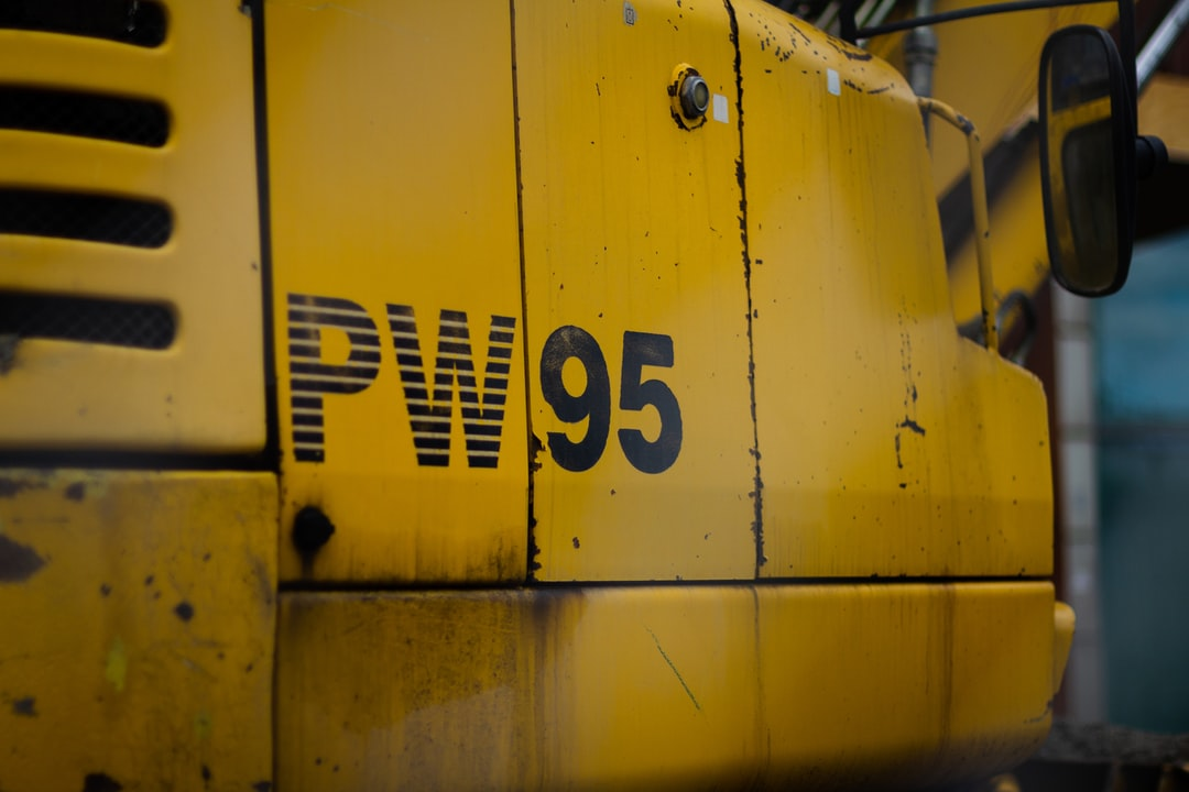 Details of a yellow bulldozer