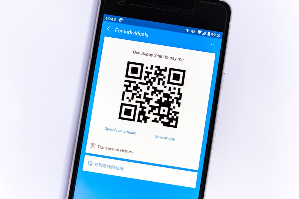 black samsung android smartphone with qr code