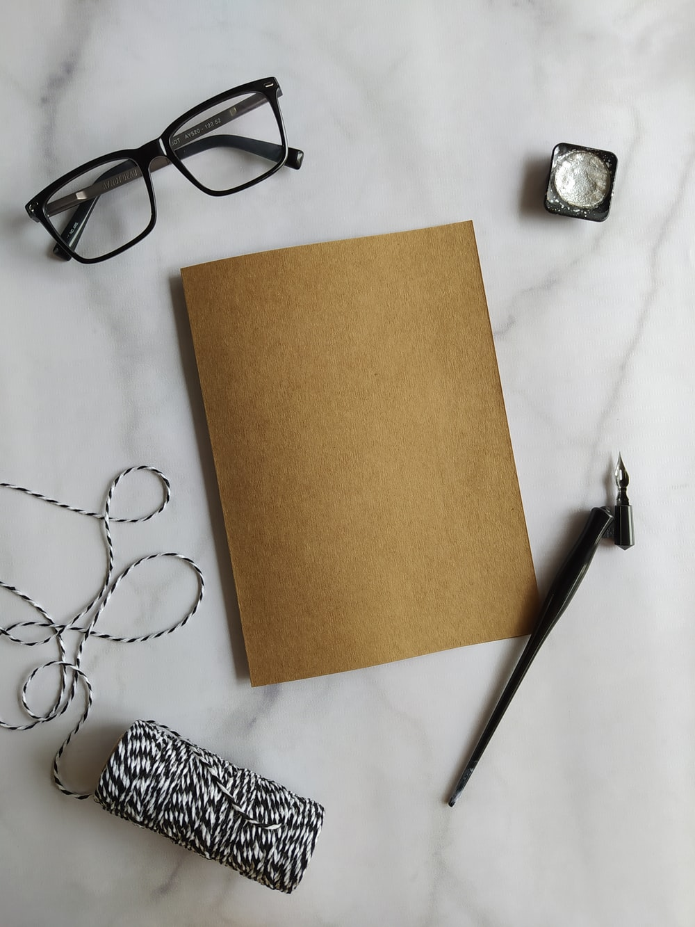 brown paper on white table