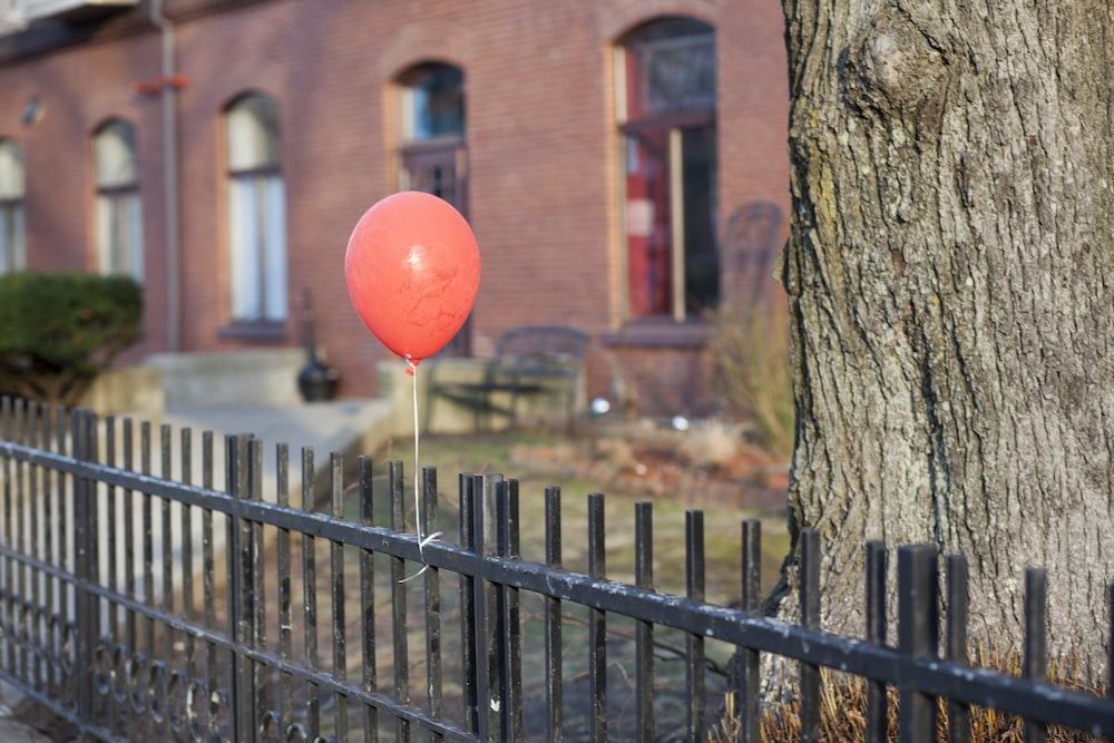 red balloon on brown tree trunk