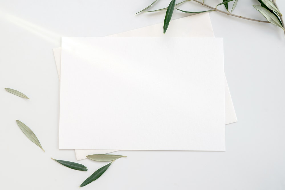 white printer paper with green leaves