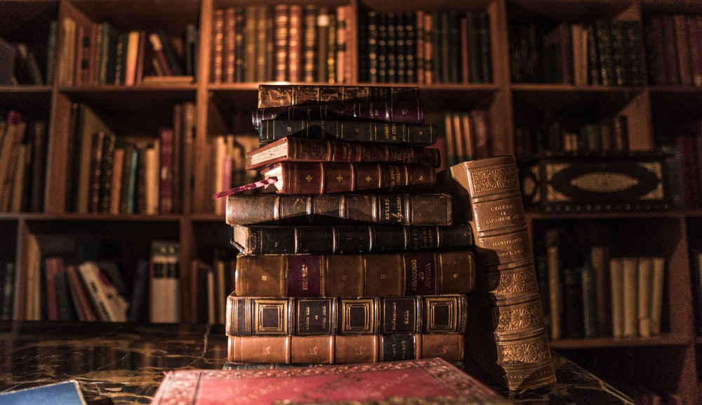 piled books on brown wooden shelf