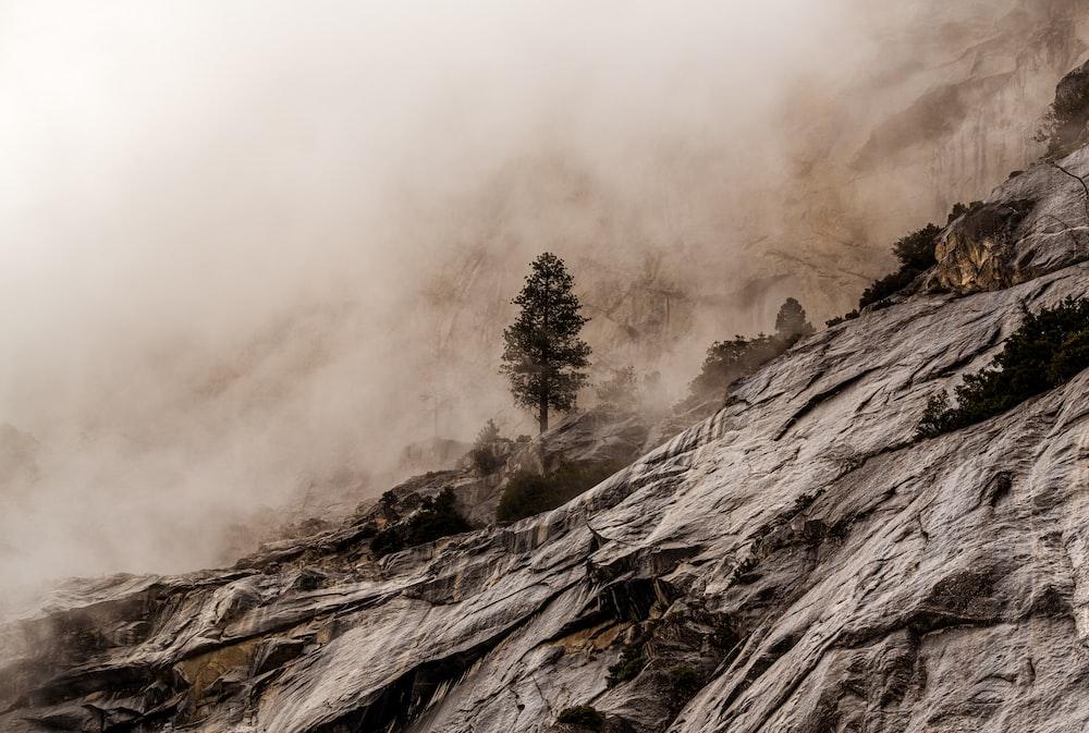 gray scale photo of foggy mountain
