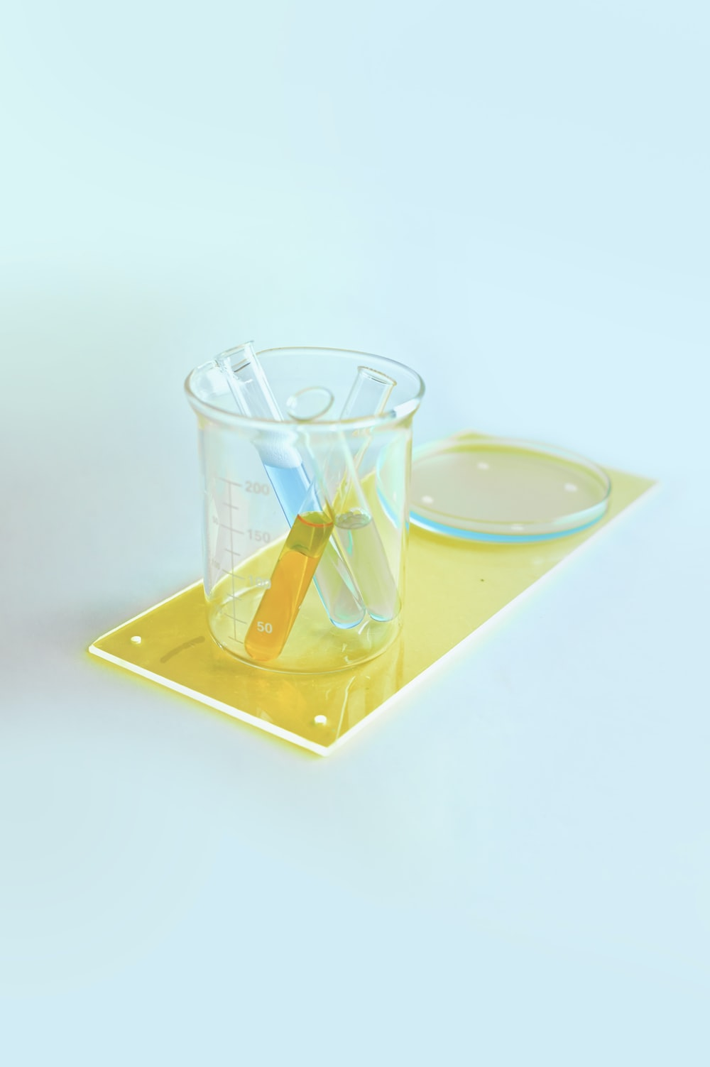 clear drinking glass on blue and white coaster
