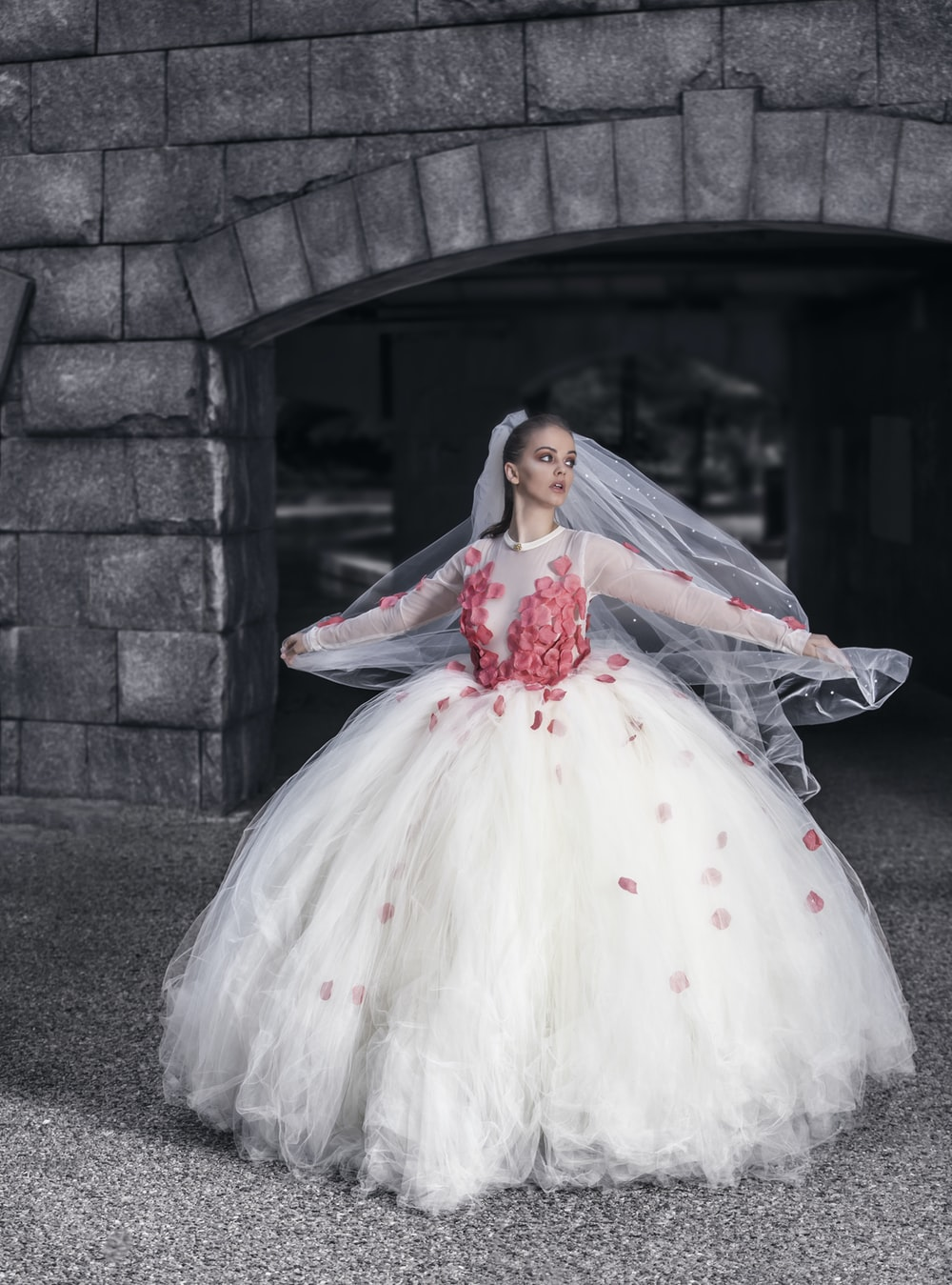 white wedding dress with red flowers
