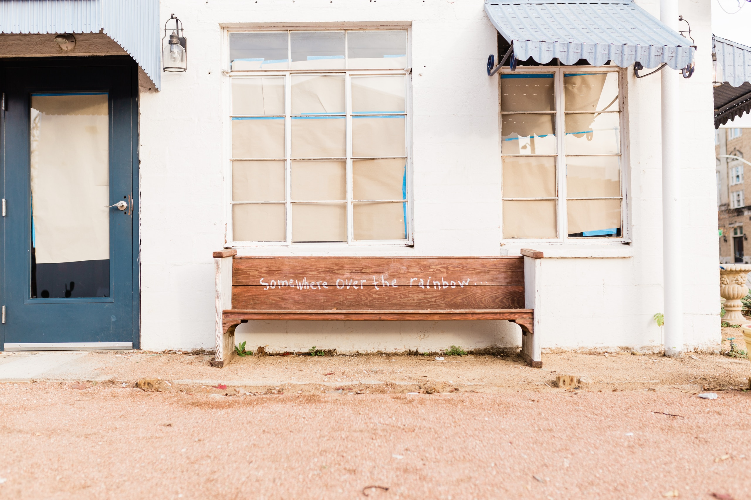 publish something of worth white and brown wooden bench