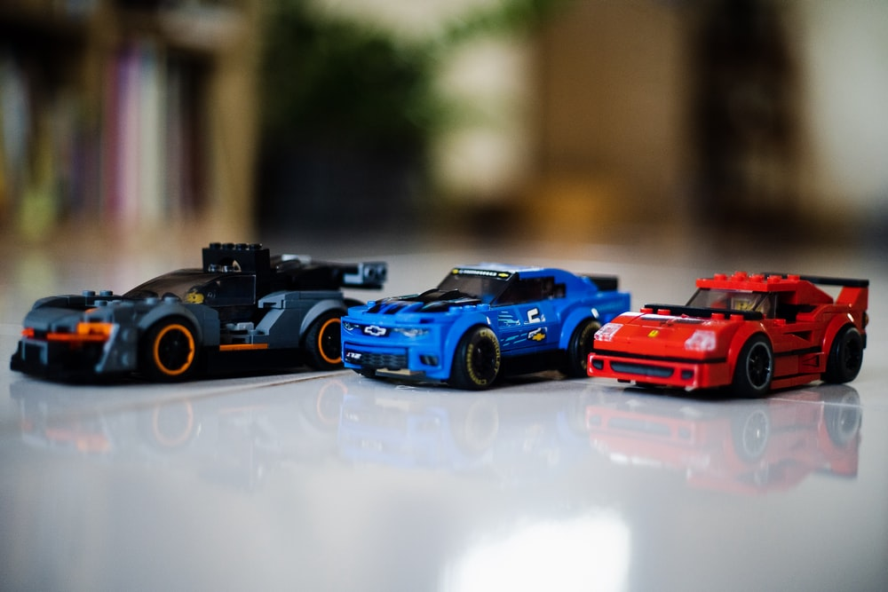 blue and red car toy