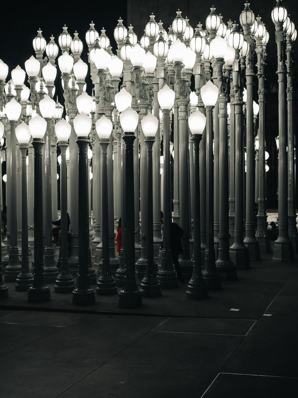 white and black light post