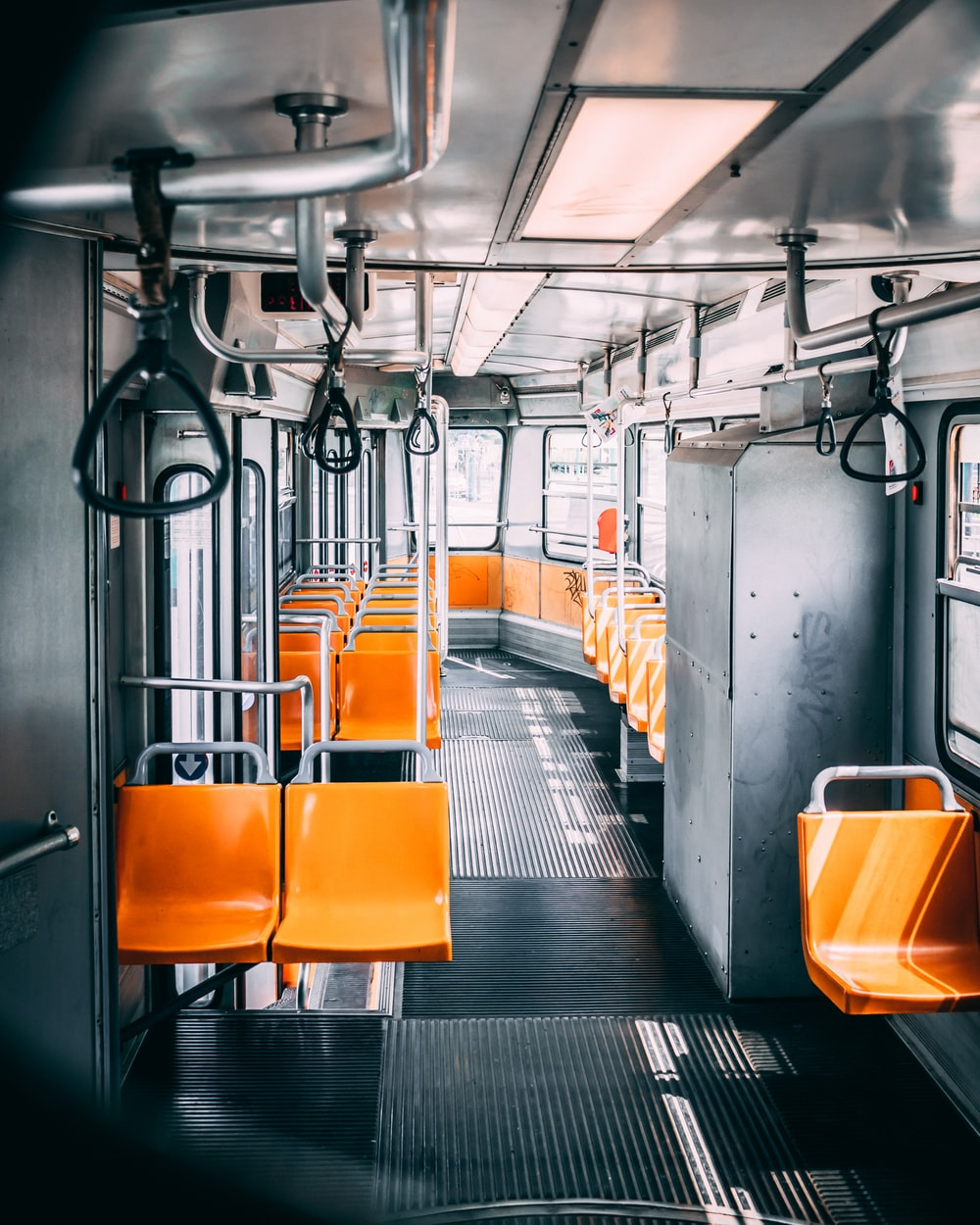 orange and gray train seats
