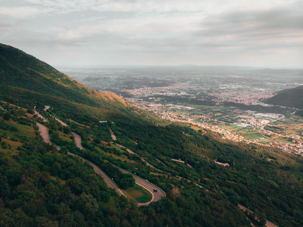 aerial view of green mountains during daytime