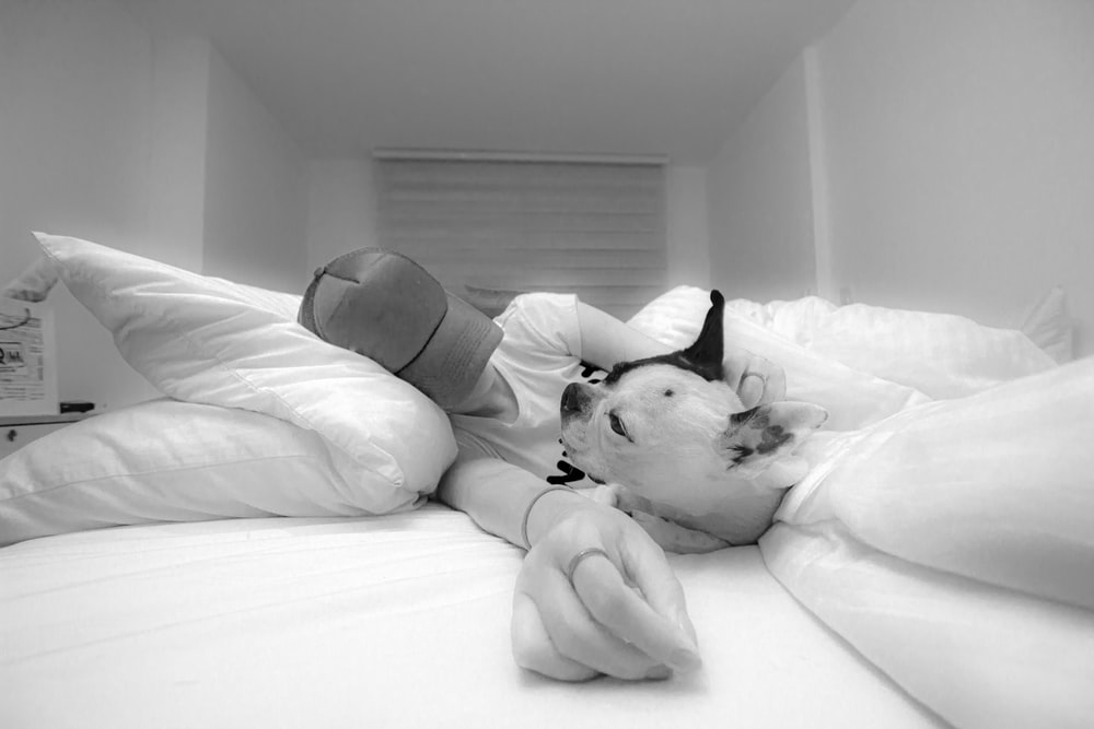grayscale photo of man lying on bed beside dog