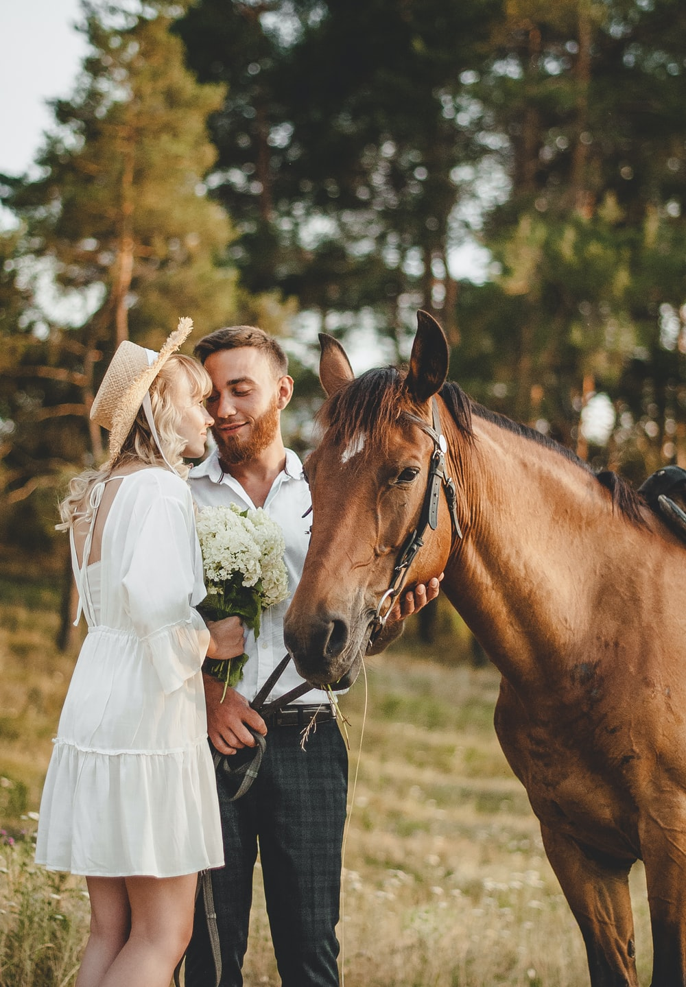woman in white dress standing beside brown horse during daytime