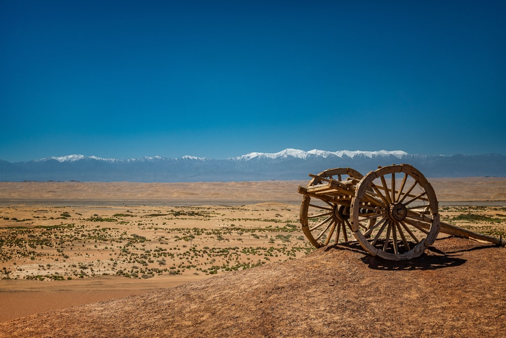 brown wooden carriage on brown sand under blue sky during daytime