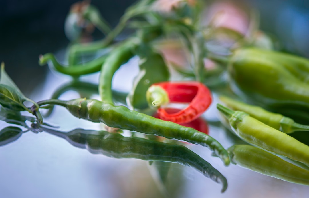 Cayenne and Chile peppers shot close up.
