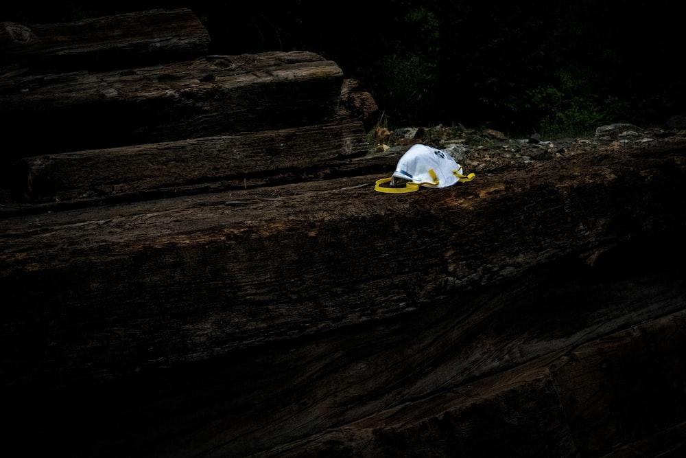 white textile on brown wooden log