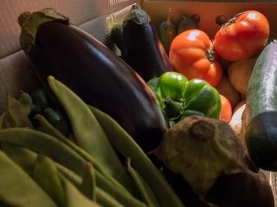 vegetables in cardboard box
