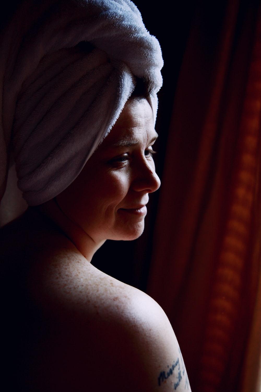 woman in white towel on head